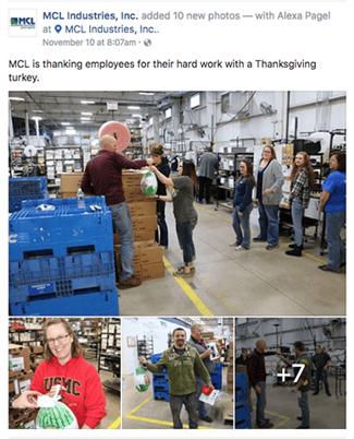 MCL Thanksgiving turkey Facebook post