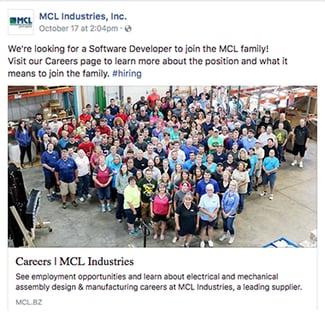 MCL Software Developer Facebook post